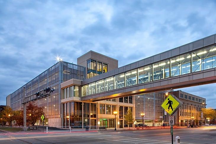 Tensile Architecture Feature Project - Pedestrian Bridge, Cedar Rapids