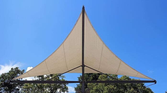 shade sail under blue sky