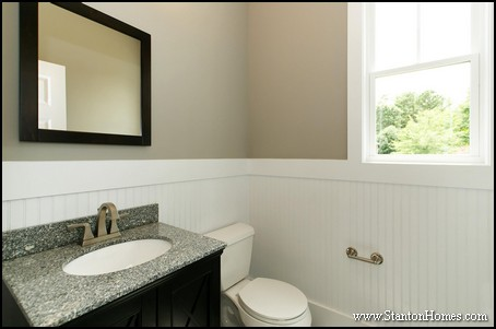 Powder room dimensions for Bathrooms with wainscoting photos