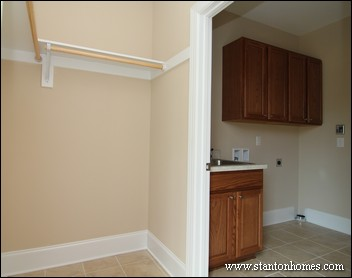 Walk in closet design layout and storage ideas for Master closet laundry room combo