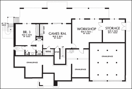 One story floor plans with basements for Separate living quarters
