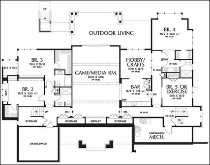 One story floor plans with basements House plans with 2 bedrooms in basement