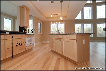 Kitchen counter tops including islands are approximately 36 inches