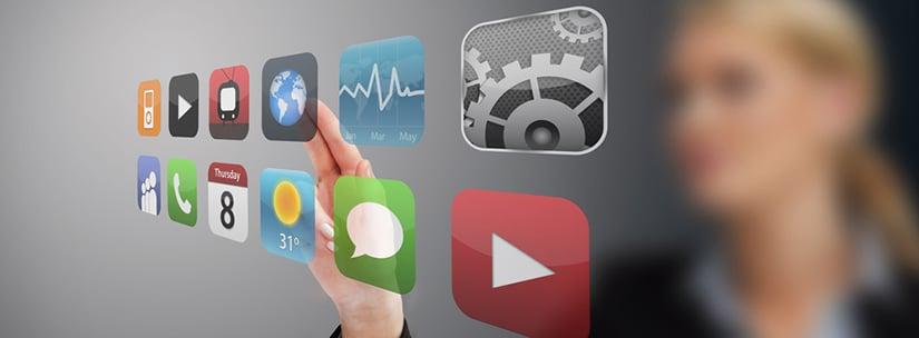 Businesswoman touching application from hologram touchscreen menu