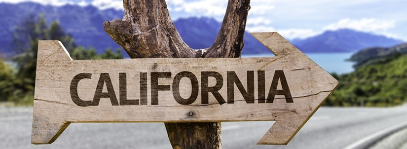 California State wooden sign with a paradise on background