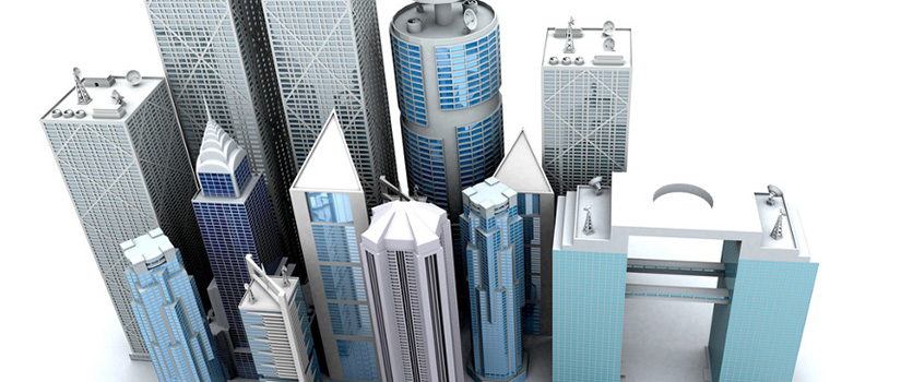 corporate buildings rendered from a high angle over a white background