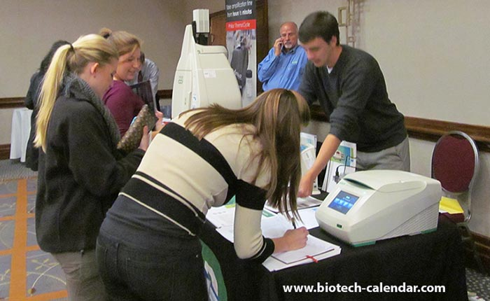 Life science exhibitors show off their company's latest in bioresearch technology.