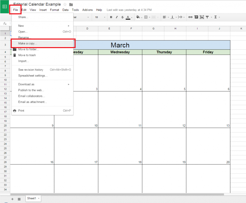 How to create a free editorial calendar using google docs for Calendar template for google drive