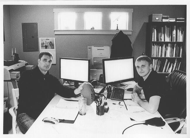 Jon and Zach in Page One Power office