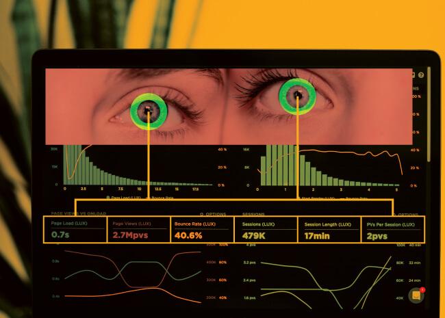 Eyes looking at website data