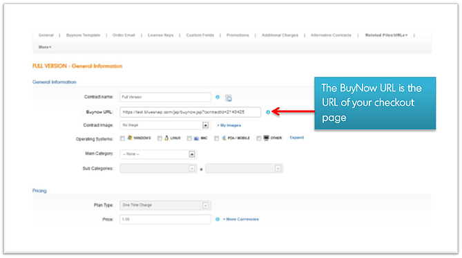 BuyNow URL-BlueSnap