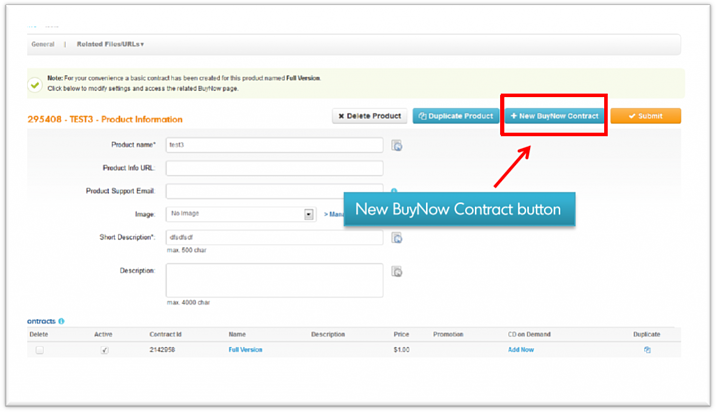 New BuyNow Contract - BlueSnap