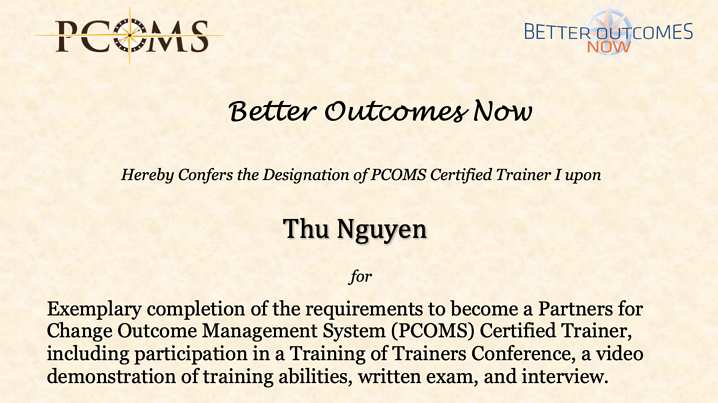 New PCOMS Certified Trainer: Thu Nguyen