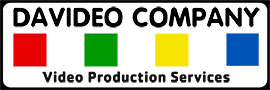 Logo for Davideo Company Video Production Services. The logo contains four squares, colored red, green, yellow, and blue, laid out side by side with black text above that reads Davideo Company and black text below that reads Video Production Services. The text and colored boxes are within a black rectangular border.