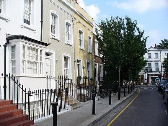 A row of houses on a street in Chelsea