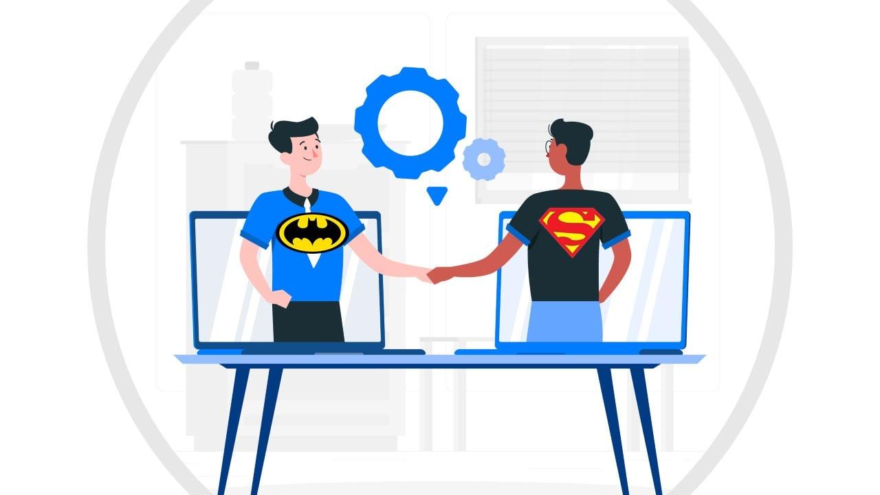 Batman and Superman shaking hands