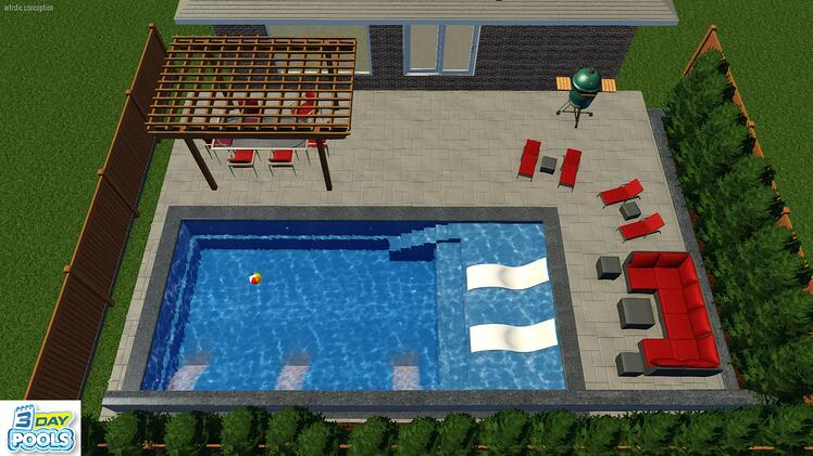 Stouffville Fiberglass Pools - 30' Illusion Splash Pad