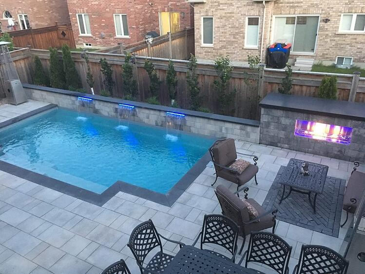 Leisure Elegance Pool – Fireplace Water Feature