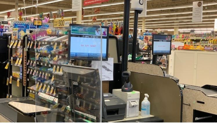 Sneeze guards at cash registers