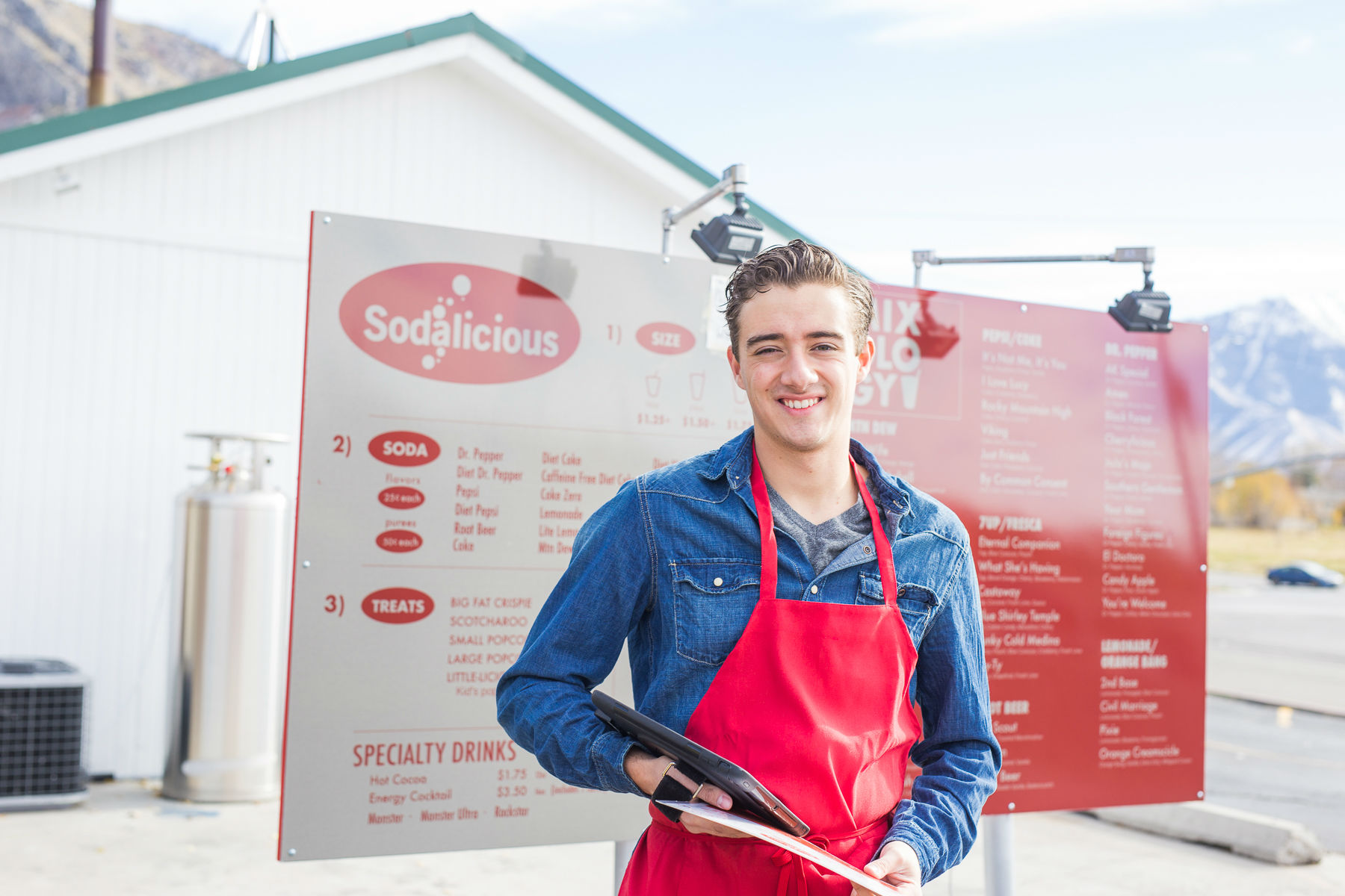 Sodalicious menu and employee