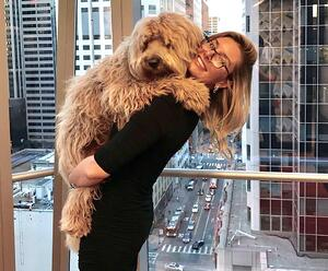 Workstream's Lydia Fayal with her dog Indie