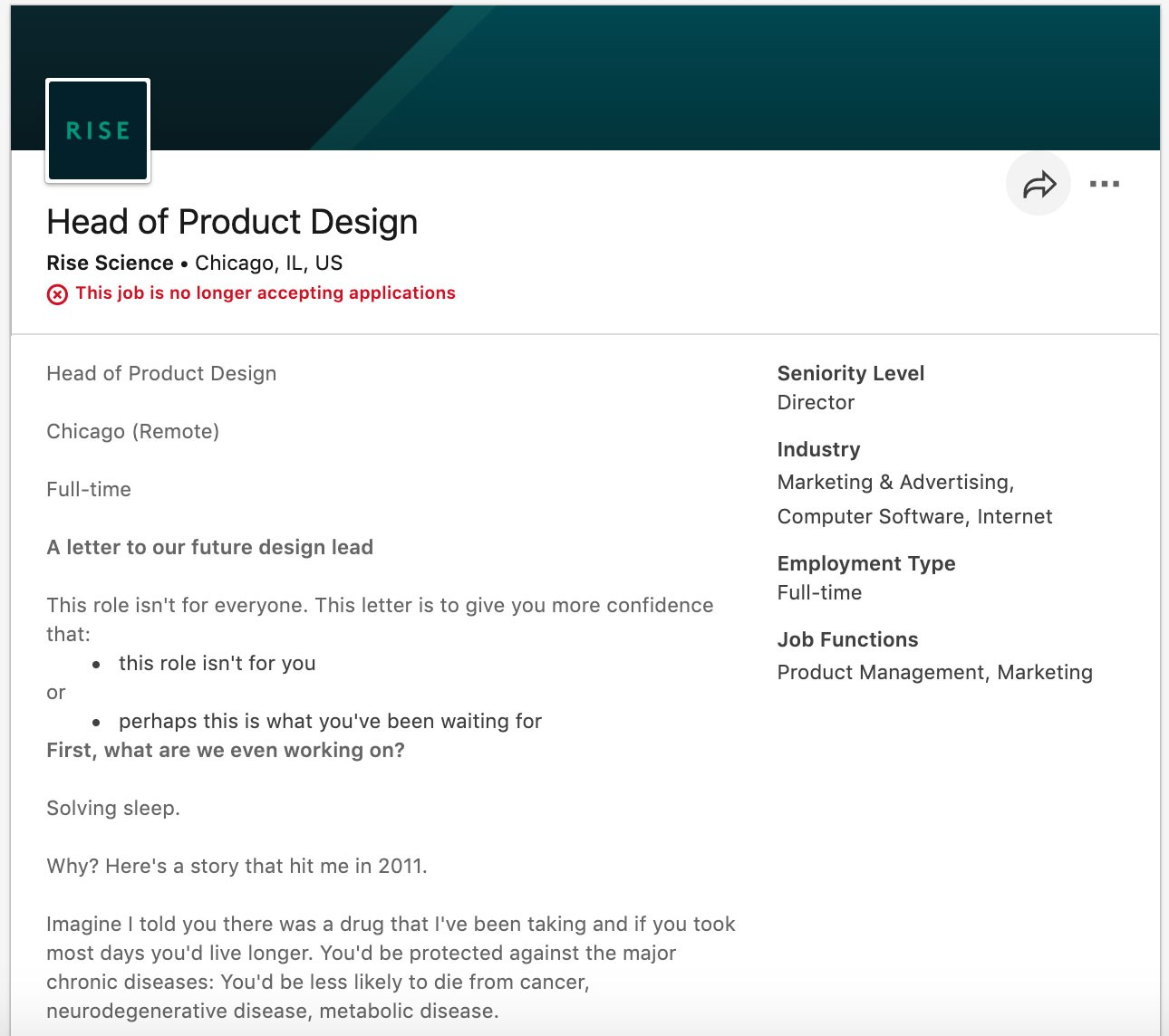 rise head of product job description