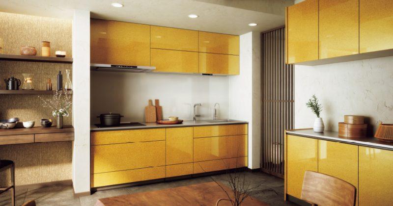 黄色の京友禅柄で古民家風の和モダン空間
