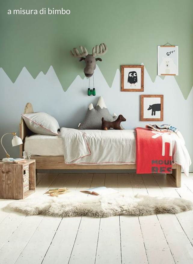 childrens bedroom with painted mountain range