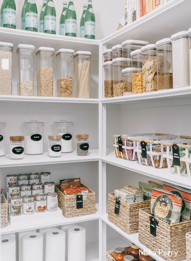 organised and labelled pantry cupboard closet