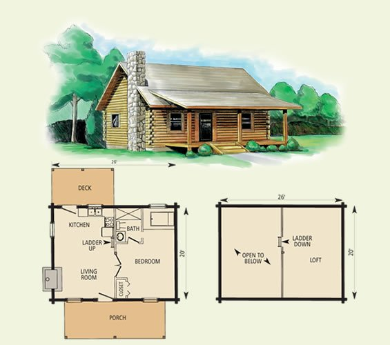 Small log cabin floor plans with loft for One bedroom log cabin plans