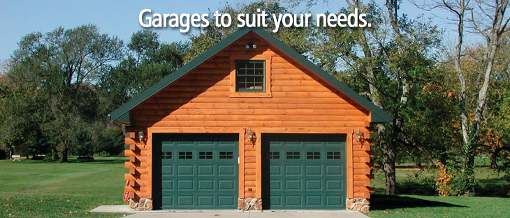 Choose from a variety of log home and cabin garages for Log home garage kits