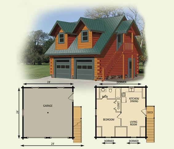Log home garage cottage for Log cabin floor plans with garage