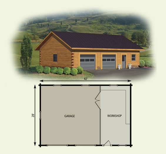Log home garage workshop for Cabin garage plans
