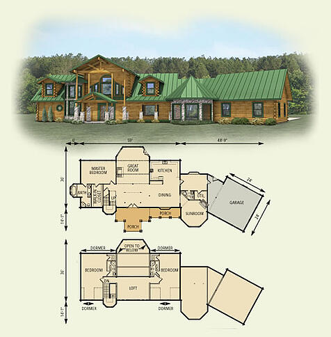 Hawks nest log home floor plan for Basic log cabin plans