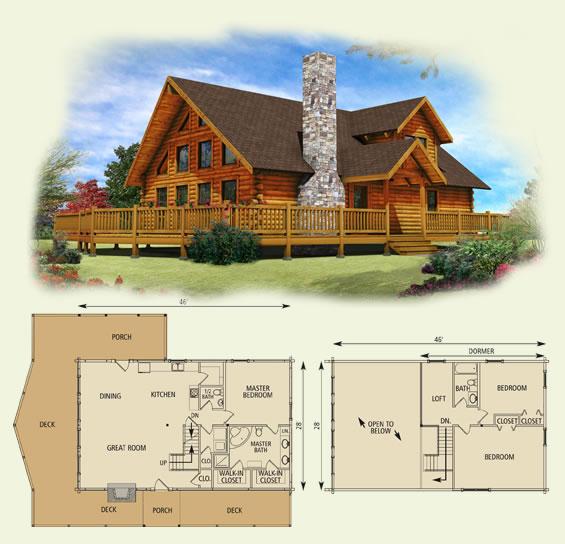 Lakefront ii log home floor plan for Lakefront modular home plans