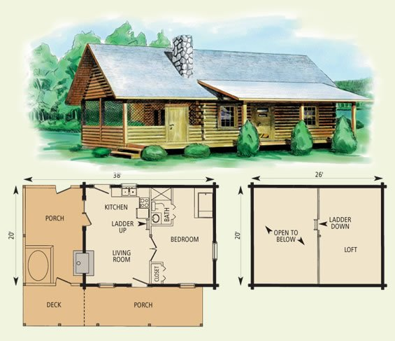 Download 20 x 20 cabin plans loft plans free for Small cabin plans with loft 10 x 20