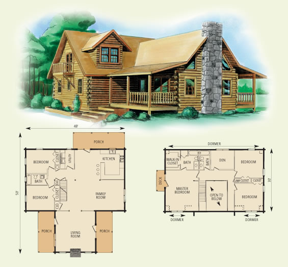 Montgomery for Log cabin floor plans with 2 bedrooms and loft