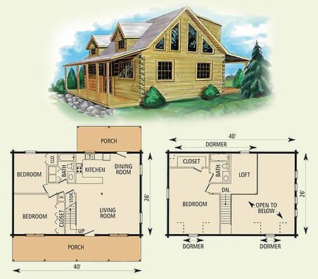 Mount vernon ii log home floor plan for 2 bedroom log cabin plans