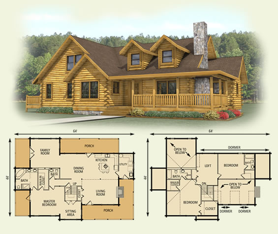 Log cabin floor plan with loft