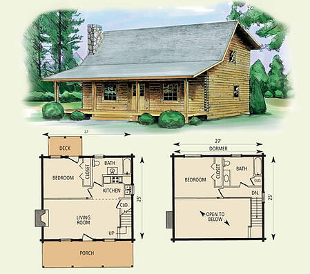 Wilderness log home floor plan for Wilderness cabin plans