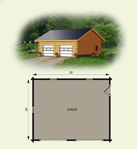 Log home garage 24 x 30 for Garage 24x30