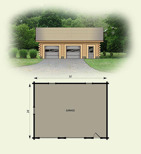 2 Car Garage With Apartment Plans 2 Car Garage Ideas Log: Log Home Garage 24 X 32
