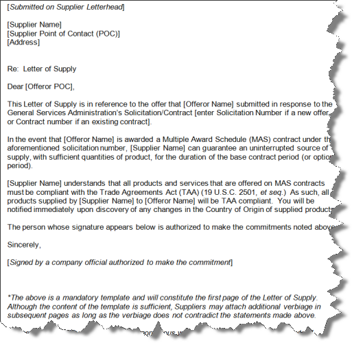 GSA Letter of Supply – Country of Origin Template