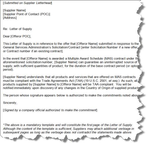 Gsa letter of supply gsa letter of supply template spiritdancerdesigns Choice Image