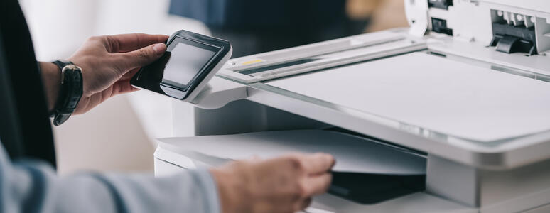 woman business printer security