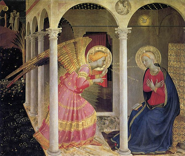 An angel appears to the Virgin Mary at the Annunciation. Image: Wikimedia Commons