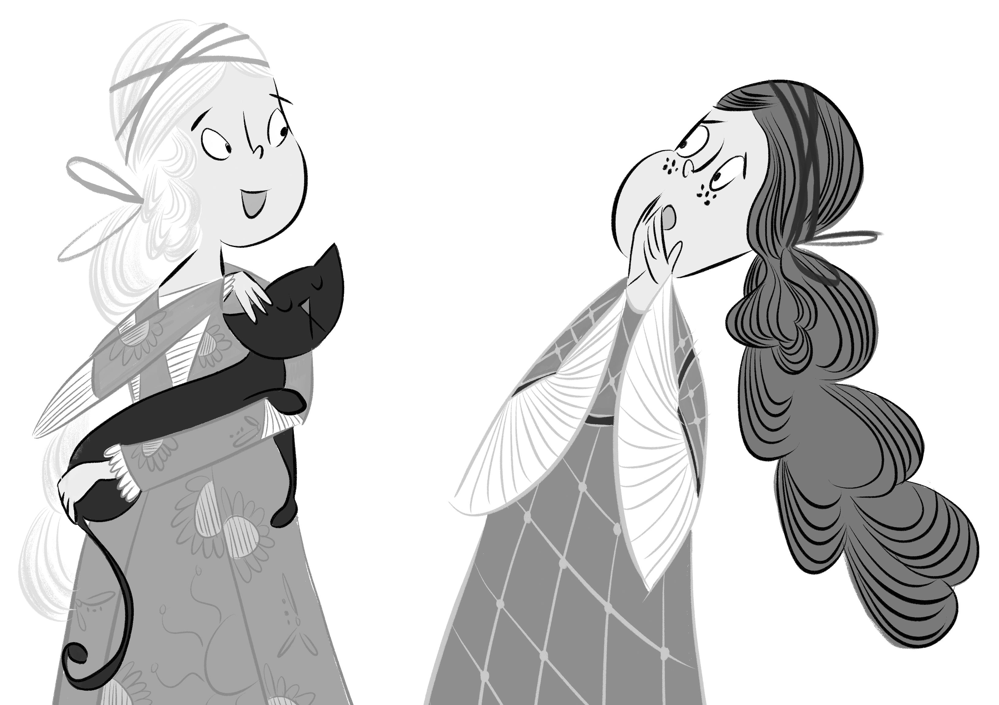 Clare, holding Angelica the cat, discusses her plans with Katie. Illustration by Jenn Bower.