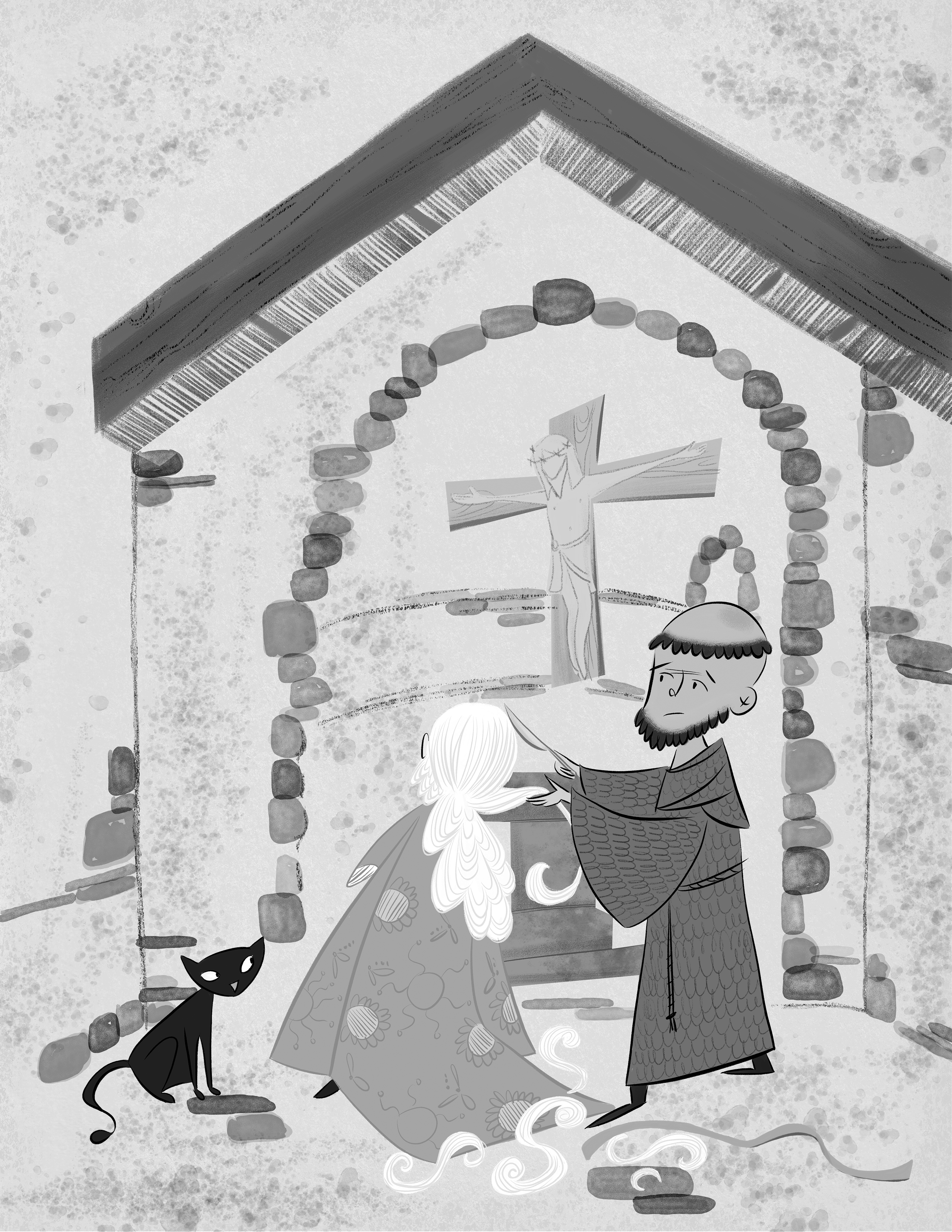 Brother Francis cuts off Clare's hair. Illustration by Jenn Bower.