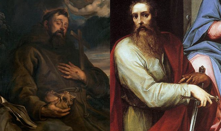 Images: Francis in Ecstasy, Anthony Van Dyck. Detail, Madonna and Child with Saints Peter and Paul, Giuseppe Cesari.