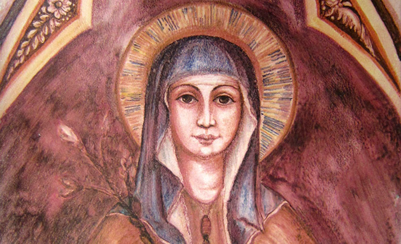 Saint Clare: Pray for us! | Image: original painting for the Poor Clares in Cincinnati, OH